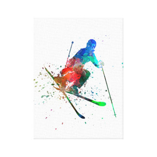 they woman to skier to freestyler jumping canvas print