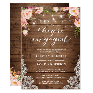 They're Engaged Rustic Floral Engagement Party Invitation