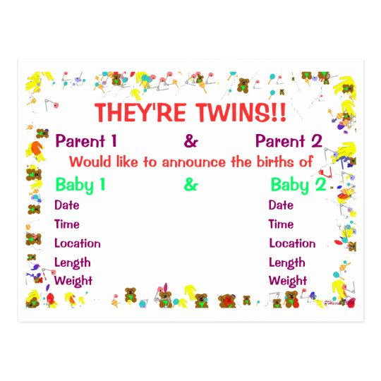 They're Twins Baby Announcement for Twins Postcard