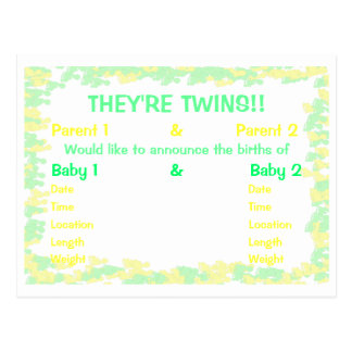 They're Twins Footprint Border Baby Announcement Postcards