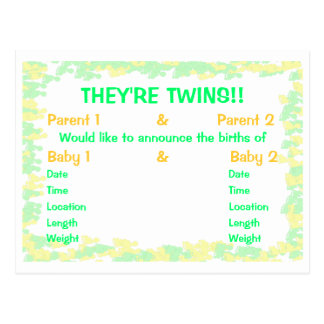 They're Twins Footprints Baby Announcement Postcards