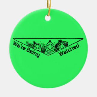 They've Got Their Eyes On You Double-Sided Ceramic Round Christmas Ornament