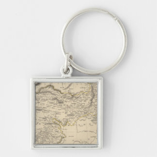 Thibet, Mongolia, and Mandchouria Silver-Colored Square Keychain