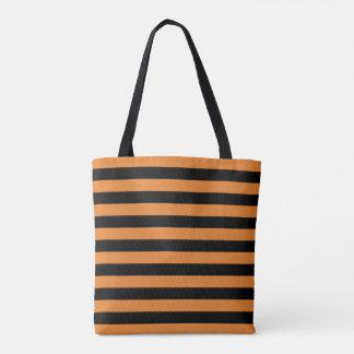 Thic bee stripes pattern, black & orange lines tote bag