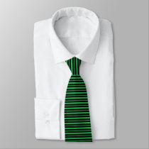 Thick and Thin Green and Black Stripes Tie