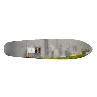 Thick bushes along the side of road skateboard
