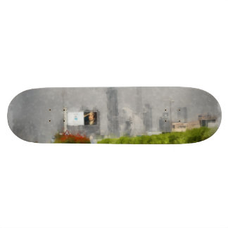 Thick bushes along the side of road skateboard deck