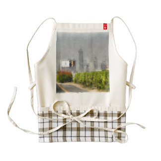 Thick bushes along the side of road zazzle HEART apron