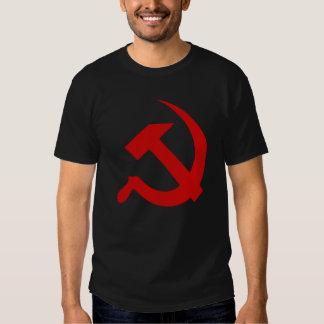 Thick Dark Red Hammer & Sickle on Black T-Shirt