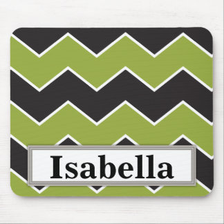 Thick Green and Black Chevron ZigZag Pattern Mouse Pad