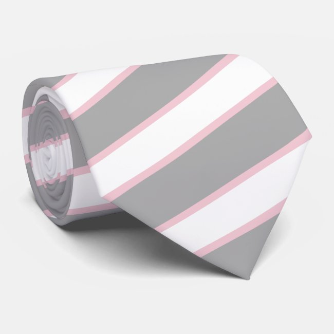 Thick Grey Thin Pale Blush Pink Stripes Tie Custom