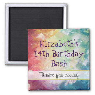 Thick Textured Abstract Paint Thank You Birthday Magnet