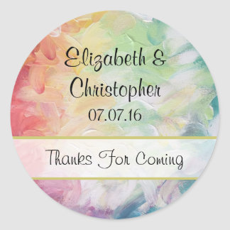Thick Textured Abstract Paint Wedding Classic Round Sticker
