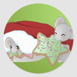 Thiefing and shy christmas mice classic round sticker