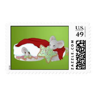 Thiefing y ratones tímidos del navidad sello postal
