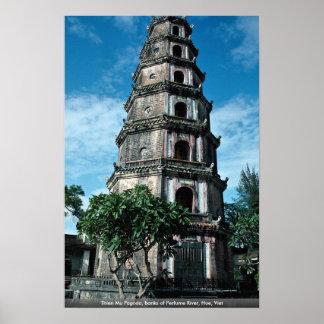 Thien Mu Pagoda, banks of Perfume River, Hue, Viet Poster