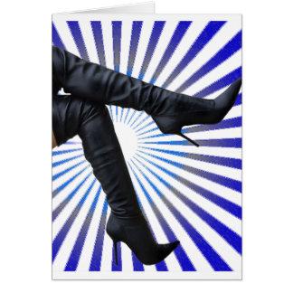 Thigh High Boot Art (blue star burst) Card
