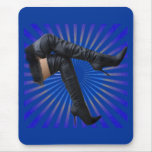Thigh High Boot Art (blue star burst) Mouse Pad