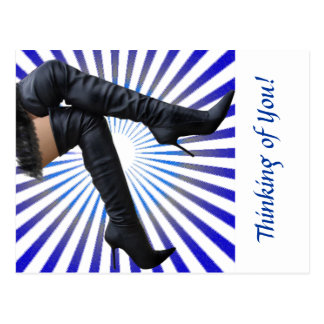 Thigh High Boot Art (blue star burst) Postcard