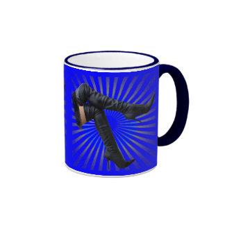 Thigh High Boot Art (blue star burst) Ringer Mug