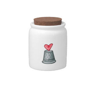 Thimble With Heart Candy Jars