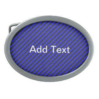 Thin Black and Blue Diagonal Stripes Oval Belt Buckles