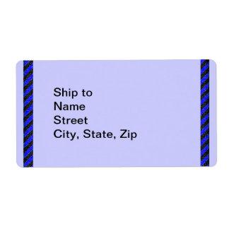 Thin Black and Blue Diagonal Stripes Label