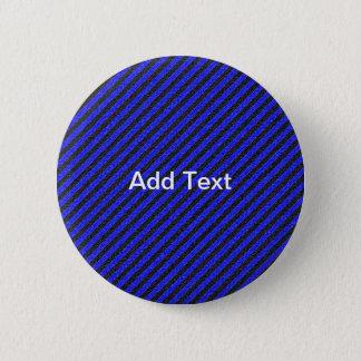 Thin Black and Blue Diagonal Stripes Pinback Button