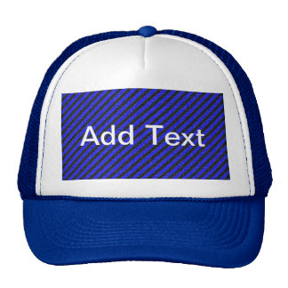 Thin Black and Blue Diagonal Stripes Trucker Hat