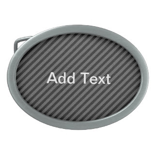 Thin Black and Gray Diagonal Stripes Oval Belt Buckle