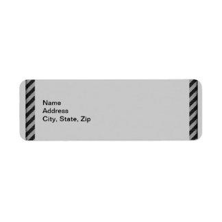 Thin Black and Gray Diagonal Stripes Label