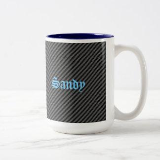 Thin Black and Gray Diagonal Stripes Two-Tone Coffee Mug