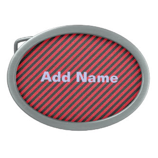 Thin Black and Red Diagonal Stripes Belt Buckle
