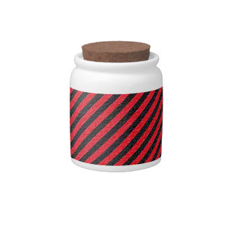 Thin Black and Red Diagonal Stripes Candy Jar