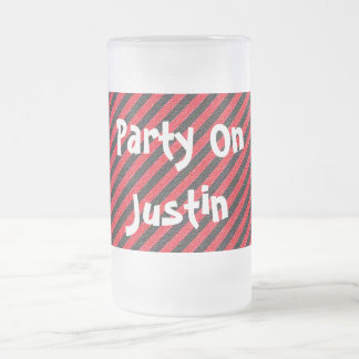 Thin Black and Red Diagonal Stripes Frosted Glass Beer Mug
