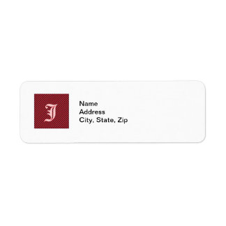 Thin Black and Red Diagonal Stripes Label