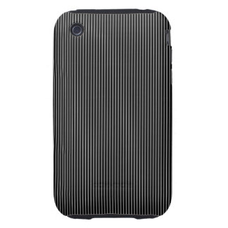 Thin Black and White Pinstripe Pattern Tough iPhone 3 Cases