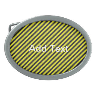 Thin Black and Yellow Diagonal Stripes Oval Belt Buckles