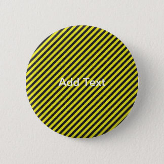 Thin Black and Yellow Diagonal Stripes Button