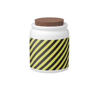 Thin Black and Yellow Diagonal Stripes Candy Jar
