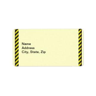 Thin Black and Yellow Diagonal Stripes Label