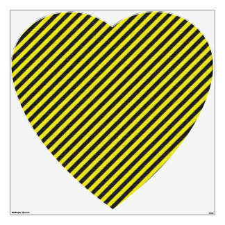 Thin Black and Yellow Diagonal Stripes Wall Sticker