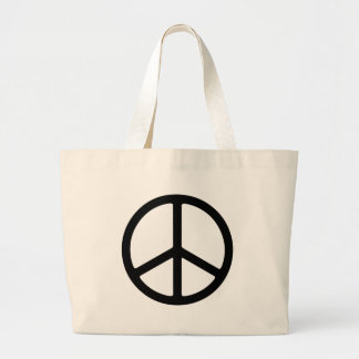 Thin Black Peace Symbol Canvas Bags