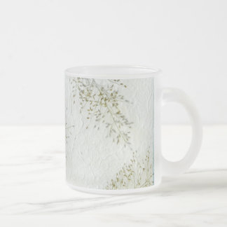 Thin blades of grass Japanese rice paper Frosted Glass Coffee Mug
