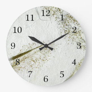 Thin blades of grass Japanese rice paper Large Clock