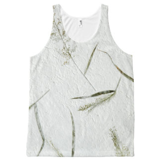 Thin blades of grass photo of Japanese rice paper All-Over Print Tank Top