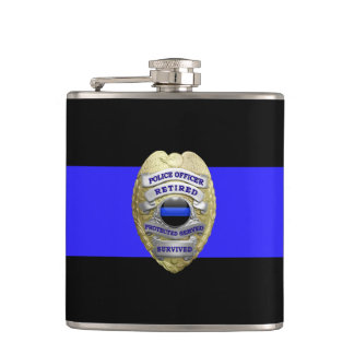Thin Blue Line 2-Tone Gold Retired Police Badge Hip Flask