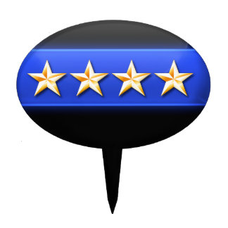 Thin Blue Line 4 Gold Stars Police Chief Rank Cake Topper