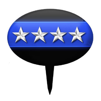 Thin Blue Line 4 Silver Stars Police Chief Rank Cake Topper