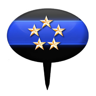 Thin Blue Line 5 Gold Stars Police Chief Rank Cake Topper